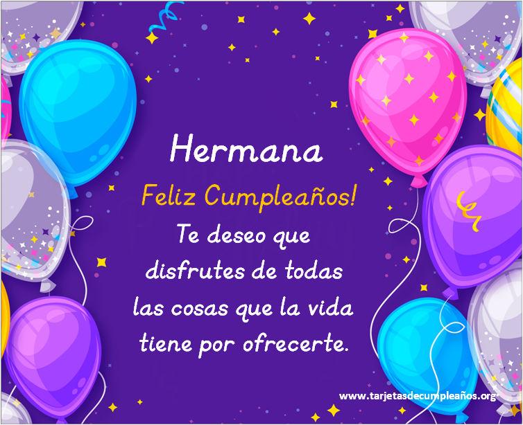 Tarjetas de Feliz Cumpleaños para Hermanas gratis