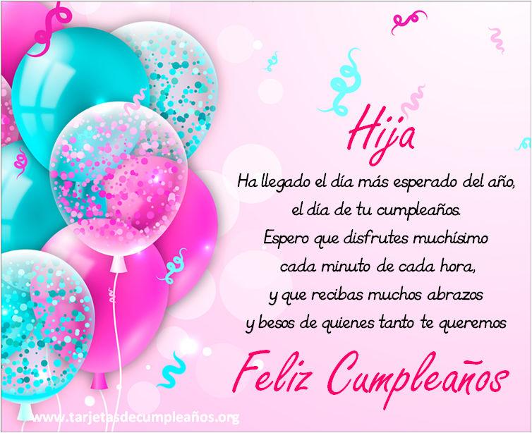 Imágenes de tarjetas de cumpleaños para una hija para